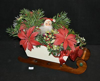 ThriftCHI ~ Vintage Wooden Sleigh w Santa Head and Plastic Holly