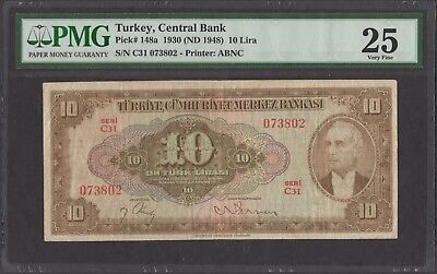 Turkey 1930 ND (1948) P-148a PMG VF 25 10 Lira