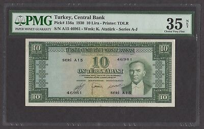 Turkey 1930 P-156a PMG VF 35 net 10 Lira