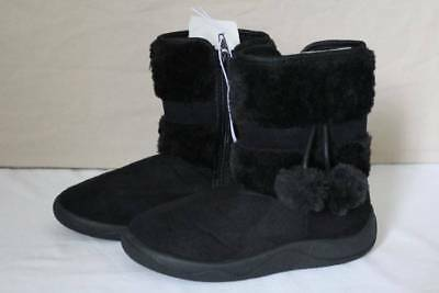 NEW Girls Black Boots Size 11 Faux Suede Fur Shoes Zip Up Winter Fashion Dressy