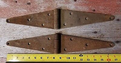 """Antique Vintage Pair Of 8 Hole Barn Door or Gate 17"""" Strap Hinges Rustic Decor"""