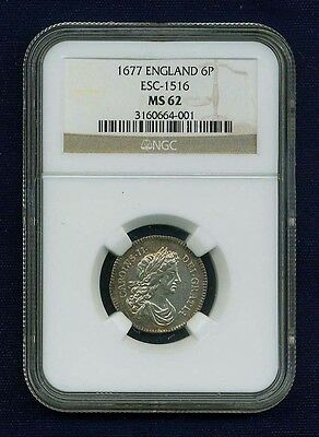 G.b./england Charles Ii  1677  Sixpence Coin, Uncirculated, Certified Ngc Ms62