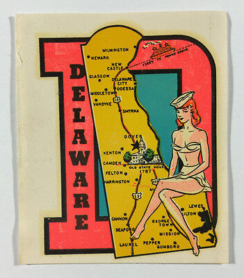 Vintage Travel Decal / Transfer - Delaware, With Pinup Girl Wearing Sailor's Hat