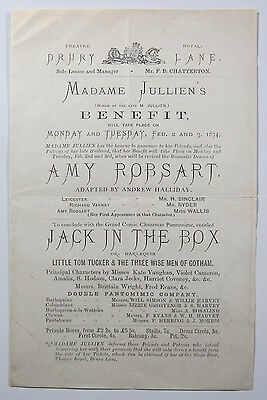 1874 Theatre Royal Drury Lane Benefit for M Jullien Inscribed & Signed M Jullien