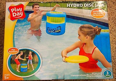 Play Day Hydro Disc Jam Pool & Backyard Game 2 Inflatable Cans + Flying Disc New