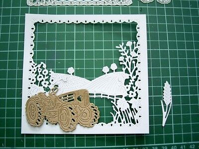 Tractor + Frame ++     A DAY IN THE COUNTRY SCENE DIE TLD0443 Tattered Lace