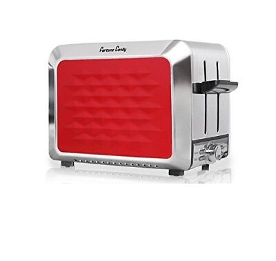 Fortune Candy #KST011 Stainless Steel 2 Slices Toaster w/ Diamond Pattern Red