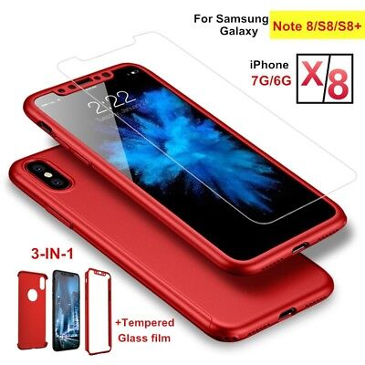 360° Shockproof Full Hard Protector Case Cover Screen Protection For iPhone X 8