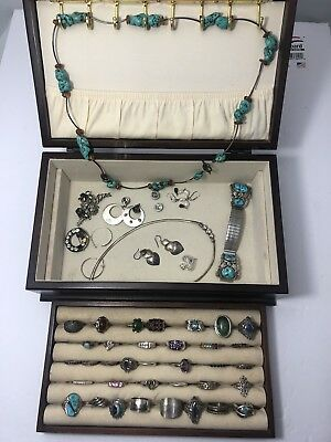 Vintage Sterling Silver Jewelry Lot !! No Scrap !  Turquoise, Coral, Gem. 340 Gr