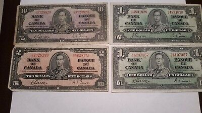 Bank of Canada 1937 $1,$2 $10 used banknotes Gordon Towers , Coyne Towers