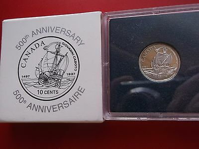 """1997 Canada 10 Cent Sterling Silver Proof """"john Caboto"""" Commemorative Coin"""