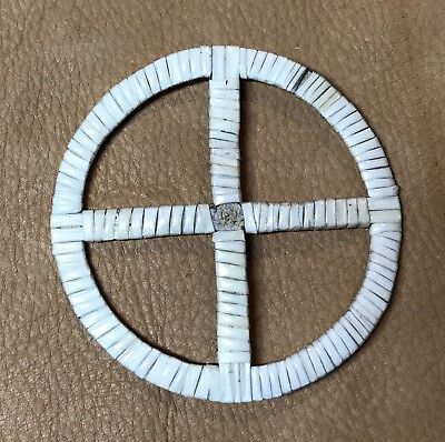 Neat Solid Colored Lakota Sioux Quilled Medicine Wheel Quilled On Rawhide