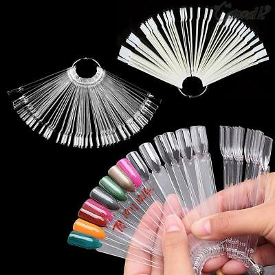 Sale Nail Art Display Fan Practice Tips Pop Sticks Clear False starter 50pc/set