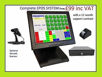"Starter POS 12"" Touch Screen EPOS System Till Take Away New Condition"