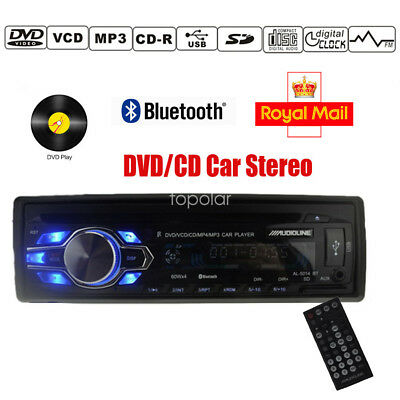 Universal 1 DIN In Dash Car Stereo Radio Bluetooth CD DVD Player USB SD AUX