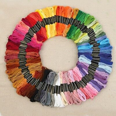 100 Colors Cross Stitch Cotton Embroidery Thread Sewing Skeins Floss Nice Set