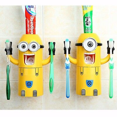 Toothbrush Holder Minions Auto Toothpaste Squeezer Dispenser Kids Despicable Me