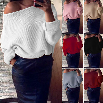 UK Womens Off Shoulder Chunky Knitwear Knitted Oversize Baggy Sweater Jumper Top