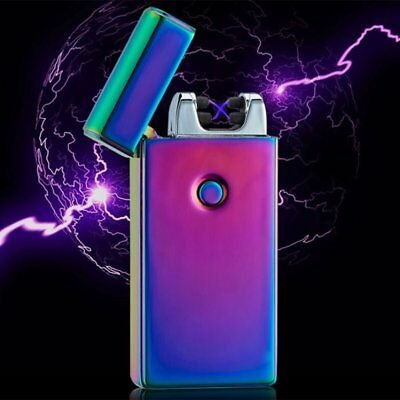 Dual Lighter Rechargeable Plasma Windproof USB Electric Flameless Arc LM