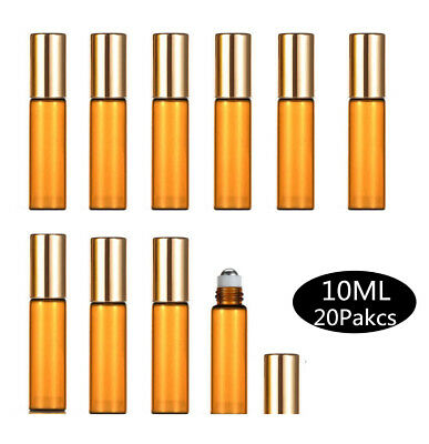 20X10ml Amber Glass BottlesMetal Roller Essential Oil Refillable Aromatherapy