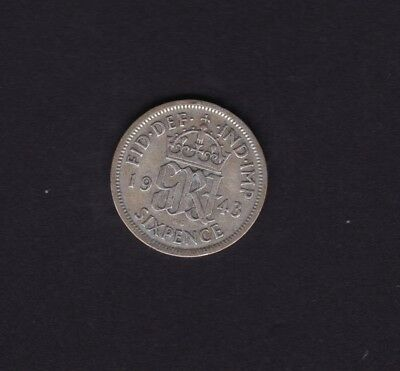 1943 Great Britain UK George VI Sixpence Silver Coin