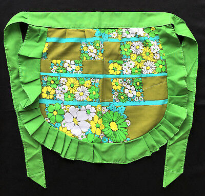 Wabasso 70s Vintage Pleated Half Apron Green & Yellow Pattern Flower Power