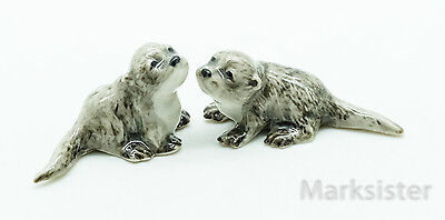 Figurine Animal Miniature Ceramic Statue 2 Tiny Baby Fish Otter - CFX004