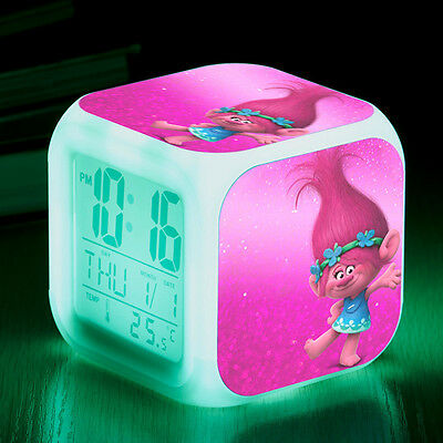 Trolls Cosplay LED 7 Colors Change Night Colorful kids Alarm Clock