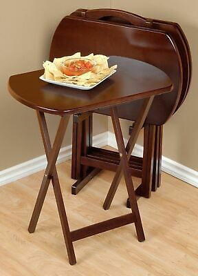 Walnut Finish 5 Pc Wooden Tray Table Set Folding Portable Stand TV Dinner  Snack