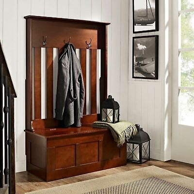 Mahogany Finish Wood Hall Tree Coat Rack Hat Hooks Storage Stand Entryway Bench
