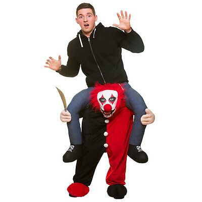 Killer Clown Shoulder Carry Me Ride On Piggy Back Halloween Fancy Dress Costume