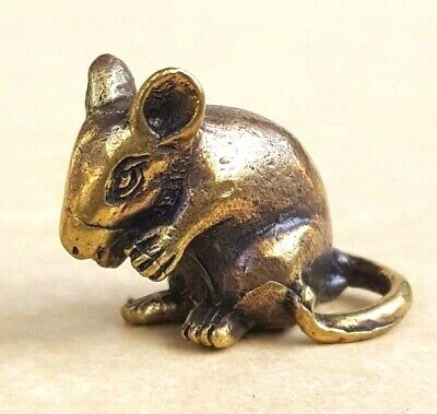 Lucky Mini Mouse Thai Amulet Brass Magic Rat Luck Wealth Rich Powerful Vintage