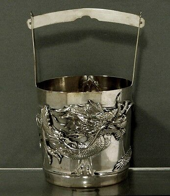Japanese Sterling Bowl     Basket    SANJU SAKU      DRAGON