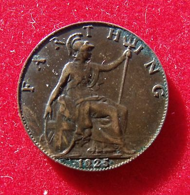 1925 Farthing coin King George V Good condition FREE UK P&P