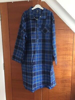 Mens Cargo Bay Check Print 100% Cotton Thermal Flannel Nightshirt in xxl