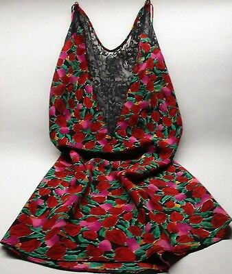 Victoria's Secret GOLD LABEL Nightgown Slip Satin Red Roses Black Lace MEDIUM