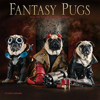 Fantasy Pugs 2018 Wall Calendar Cute Funny Fiction Wizard Witch Hobbit King