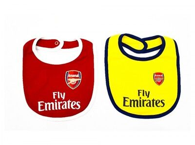 Arsenal FC Official Football Gift 2 Pack Home & Away Kit Baby Bibs