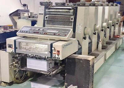 1991 Komori Lithrone L-620 Straight Press + Console 14x20  Six Color 89 mil imps