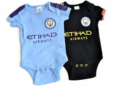 Manchester City FC Official Football Gift 2Pk Home Away Kit Baby Bodysuits Blue