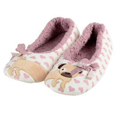 Ladies Cute Puppy Dog Slippers New Soft Plush Womens Sherpa Lining Non Slip Sole