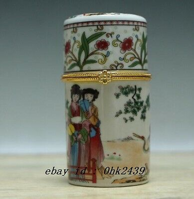 Beautiful China white Porcelain beautiful lady crane Jewelry box, toothpick b