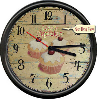 Cupcakes Rustic Kitchen Personalized Your Name Bakery Chef Shop Sign Wall Clock