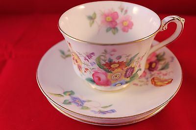 George Jones Crescent China Trio Cup Saucer & Plate Floral Very Pretty Art Deco