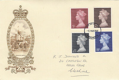 (05332) GB Philart Deluxe FDC £1 10/- 5/- 2/6 Manchester 5 March 1969
