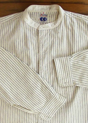 Striped utility shirt CC41 Collarless Mentor War time ration 1940s WW2 Size 14.5