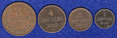 Channel Islands Guernsey 1885 Year Set, 8, 4, 2 & 1 Doubles 4 Coins (Ref. t0004)
