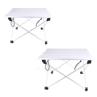 Portable Folding Aluminum Rolling Table with Bag for Camping Picnic #Cu3