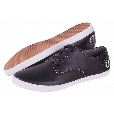 NEW FRED PERRY FOXX B9022 MENS TRAINERS SHOES LEATHER black UK 11 footwear 46