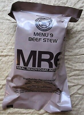 Genuine Us Army Ranger Mre Ration Meal/menu 9: Beef Stew. Expiry: October 2022.